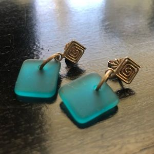 Hand crafted silver and sea glass earrings